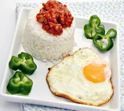 White rice with fried egg stock image