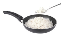 White rice on fry pan Stock Photography