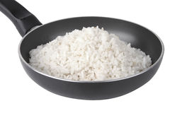 White rice on fry pan Royalty Free Stock Images