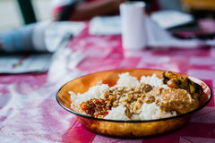 White rice with grilled chicken Royalty Free Stock Photo