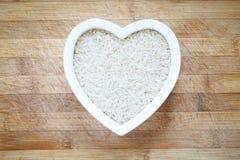 White rice in heart shape bowl Stock Image