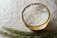 White rice. Or jasmine rice in basket Stock Images