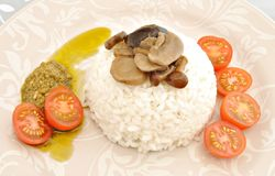 White rice with mushrooms Royalty Free Stock Photo