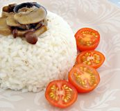 White rice with mushrooms Stock Photo