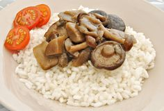 White rice with mushrooms Royalty Free Stock Photography