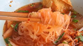 White Rice Noodle With Sliced Pork And Pork Ball Royalty Free Stock Photography