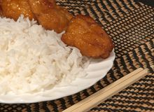 White Rice with Oriental Chicken Stock Photography