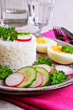 White rice with radish, cucumber and eggs Stock Photography