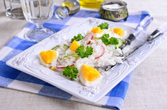 White rice with radish, cucumber and eggs Royalty Free Stock Photography
