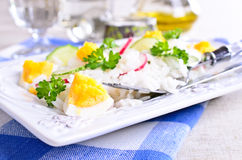 White rice with radish, cucumber and eggs Stock Images