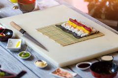 White rice and raw fish. Stock Photography