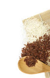 White rice and red rice in wooden spoon Royalty Free Stock Image
