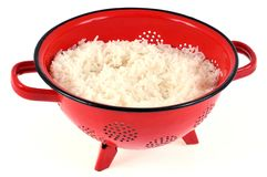 White rice strainer in close-up royalty free stock image