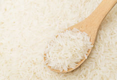 White rice on teaspoon Royalty Free Stock Photography