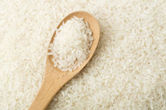 White rice on teaspoon Stock Images