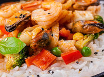 White rice with tiger shrimp Stock Photography