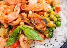 White rice with tiger shrimp Royalty Free Stock Image