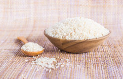 White rice in a wooden bowl Royalty Free Stock Photos