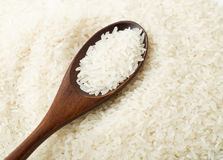 White rice on wooden spoon Royalty Free Stock Images