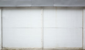 White ridged garage metal wall, background Royalty Free Stock Photo