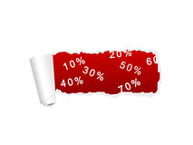 White ripped paper with red SALE percent background Stock Photography