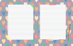 White ripped ruled notebook, copybook, note paper with pencil stuck vector illustration