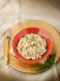 White risotto with gold leaf Royalty Free Stock Photo