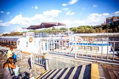 White River cruise boat on Moscow river Royalty Free Stock Photos