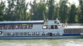 White river cruise boat on the river, Russia stock footage