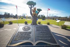 WHITE RIVER, ONTARIO, CANADA - OCT 20, 2017: View of Winnie the. Pooh statue in the town of White River where the classic children's stories was found by Harry Royalty Free Stock Images