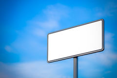 White road sign. On a blue background Stock Image