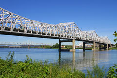 White Roadway River Bridge. White steel, truss roadway river bridge Royalty Free Stock Photos