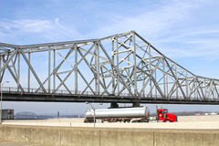 White Roadway River Bridge. White steel, truss roadway river bridge Royalty Free Stock Images