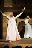 White Robe Sufi Dancer Raised Arms Cairo Stock Image