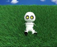 White robot. 3d rendered, Smiles Royalty Free Stock Photos