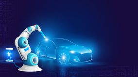 White Robot Arm Welding Automobile Illustration. Industrial Robotic Welder Work on Factory of Car Manufacture. Artificial Intelligence Automation. Future royalty free illustration