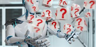 White robot using digital question marks 3D rendering. White robot on blurred background using digital question marks 3D rendering Royalty Free Stock Image