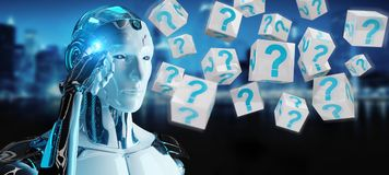 White robot using digital question marks 3D rendering. White robot on blurred background using digital question marks 3D rendering Stock Photography