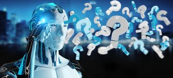 White robot using digital question marks 3D rendering. White robot on blurred background using digital question marks 3D rendering Stock Photo