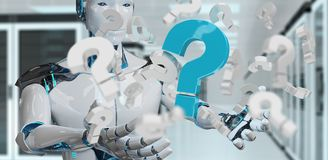 White robot using digital question marks 3D rendering. White robot on blurred background using digital question marks 3D rendering Royalty Free Stock Images