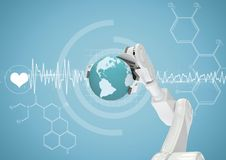 White robot claw with globe against white medical interface and blue background. Digital composite of White robot claw with globe against white medical interface Stock Images