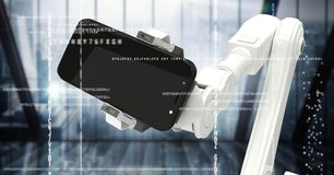 White robot claw with phone behind white interface against dark blurry window Stock Photos