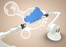 White robot claws with blue cloud against white interface and cream background Royalty Free Stock Photo