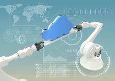 White robot claws with blue clouds against white interface and blue background Royalty Free Stock Photography