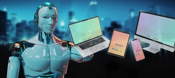 White robot connecting modern smartphone tablet laptop and computer 3D rendering stock photos