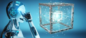 White robot creating future technology structure 3D rendering royalty free illustration