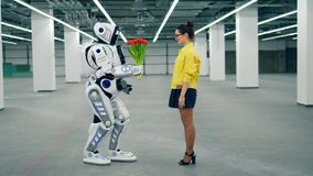 White robot gives a bunch of tulips to a woman. stock footage