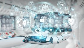 White robot hand using cyber security data interface 3D renderin. White robot hand on blurred background using cyber security data interface 3D rendering Royalty Free Stock Image