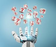 White robot hand using digital question marks 3D rendering. White robot hand on blurred background using digital question marks 3D rendering Royalty Free Stock Photography