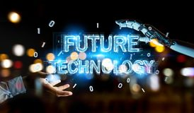 White robot hand using future technology text hologram 3D render. White robot hand on blurred background using future technology text hologram 3D rendering Stock Photos